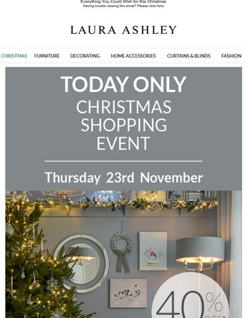 In-store Christmas Shopping Event Today Only!