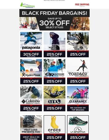Black Friday Bargains - up to 30% off top brands!