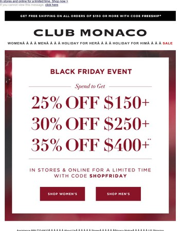 The Black Friday Event: Save up to 35% off everything