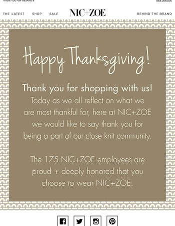 From all of us at NIC+ZOE - Thank you
