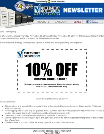 Happy Thanksgiving! Get 10% Off CheckOutStore.com!