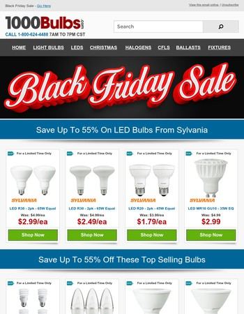 Black Friday Deals - up to 55% off LED Bulbs
