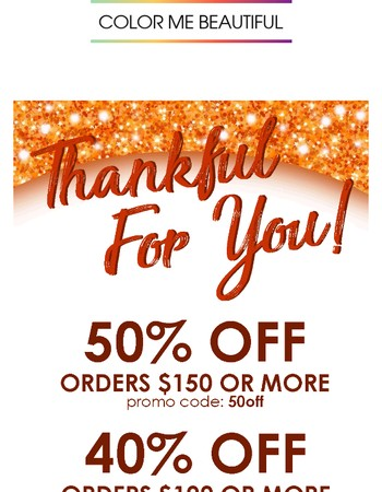 Happy Thanksgiving! 50% off -