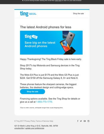 One day early: Ting's Black Friday deals on the latest Samsung and Motorola phones