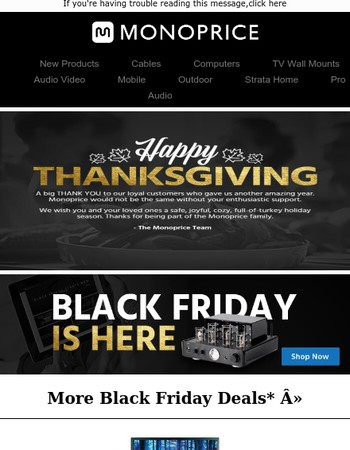 Happy Thanksgiving from Monoprice + HOT DEALS to Whet Your Appetite >>