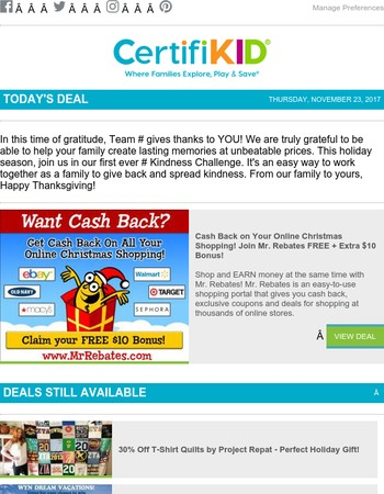 Cash Back on Online Holiday Shopping - Get Your FREE $10 Bonus Now!