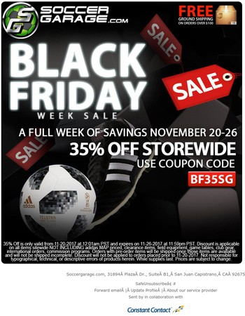 35% Off Black Friday Soccer Sale Starts Now | SOCCERGARAGE.com