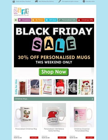 Black Friday SALE - 30% OFF Personalised Mugs - This Weekend Only
