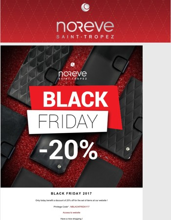 BLACK FRIDAY 2017. A hot start ! 20% off during 24 hours