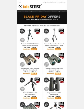 FotoSENSE Black Friday offers are here! Up to 24% Off selected products & brands