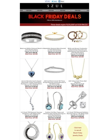 Black Friday Starts Now: Up To 95% Off Jewelry Deals