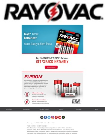 Buy $9 of RAYOVAC FUSION Batteries, Get $3 Back Instantly!