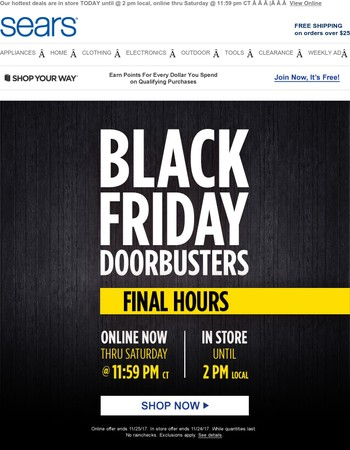 Black Friday Doorbusters are going… going…