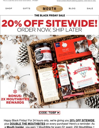 20% OFF SITEWIDE + 2X MOUTHBITES!!????