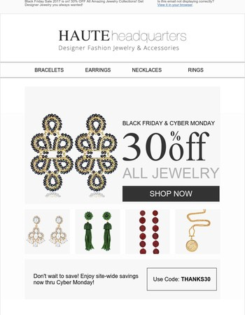 Designer Jewelry 30% OFF Sale is Rocking on! Get Designer Jewelry you always wanted!