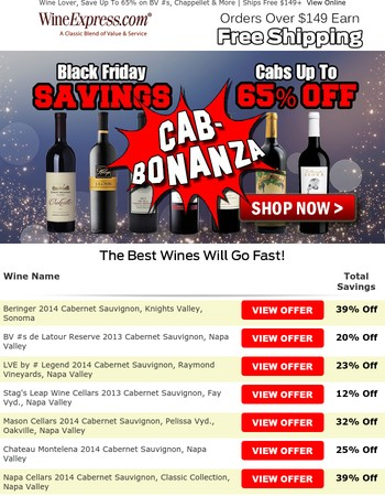 Up To 65% Off Cabernet, Black Friday Continues! (Free Shipping $149+)