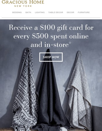 Ends Tomorrow! Receive a $100 gift card for every $500 spent + free shipping