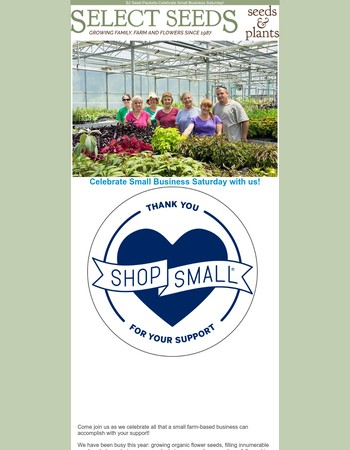 Giant Seed Sale - Celebrate Small Business Saturday with Us