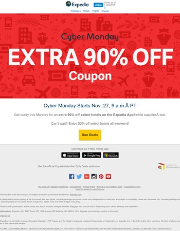 H-A-L-F OFF today! Plus Cyber Monday starts tomorrow at 9 a.m. PT