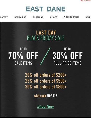 LAST DAY: Up to 70% off with code MORE17