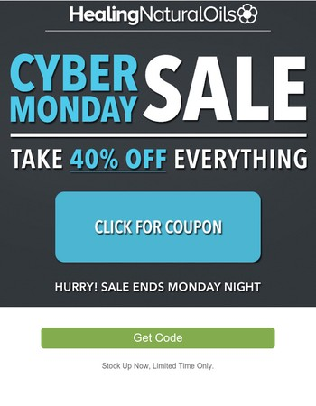 Save 40% - Cyber Monday Starts NOW!