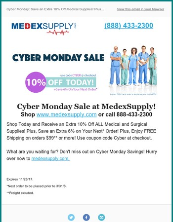 Cyber Monday: Save an Extra 10% Off Medical Supplies! Plus...