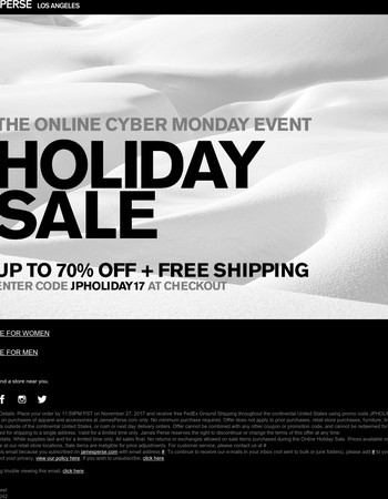 Cyber Monday Sale: Up To 70% Off  + Last Day For Free Shipping