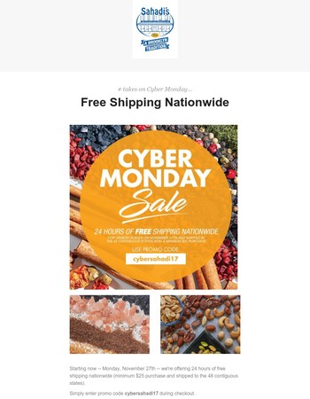 �24 Hours of Free Shipping from Sahadi's!