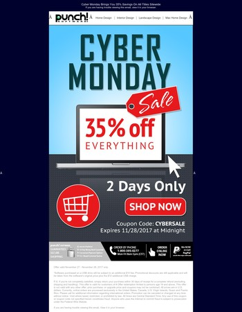 Hello, Cyber Monday! 35% Off, 2 Days Only