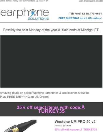 Cyber Monday is here! Take up to 35% off Westone