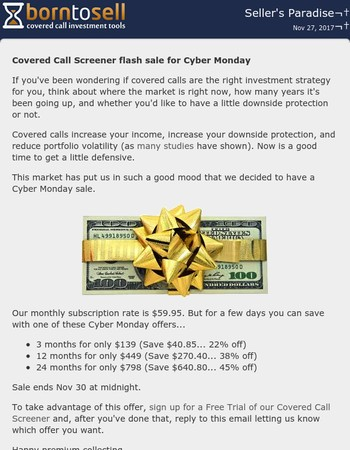 Covered Call Screener flash sale - save $40, $270, or $640