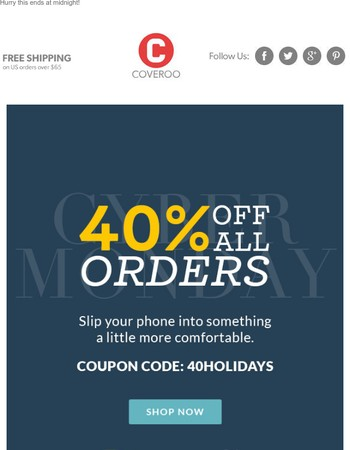 40% Off All Cases, All Day. Get Shopping!