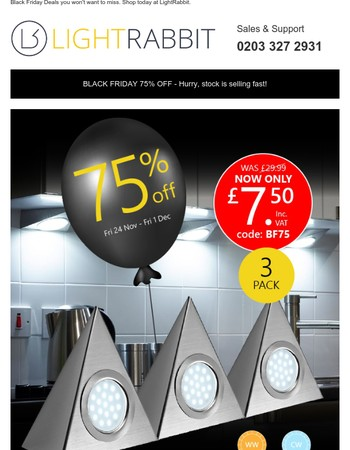 75% off Cabinet Lighting