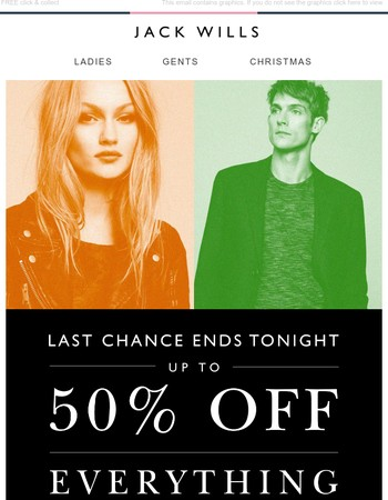 Up to 50% off EVERYTHING ends tonight