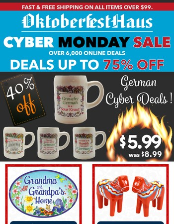 $1.99 Cyber Deals! Up to 75% Off!