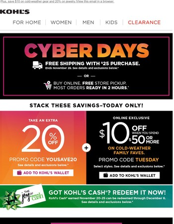 Save 20% & Shop 2-Day Cyber Deals before they're gone!