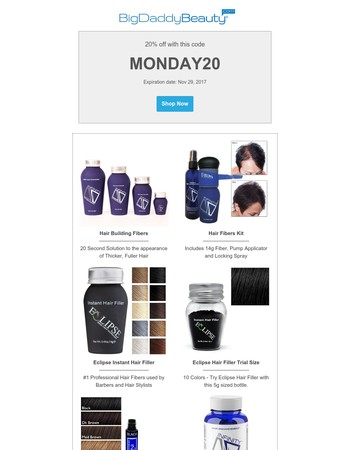 Save 20% OFF Today Only on All Hair Loss Solutions - BigDaddyBeauty.com