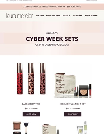 Cyber Week Sets + Free Samples and Shipping