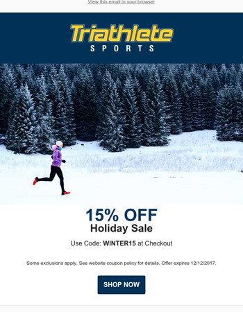 15% Off Winter Holiday Sale