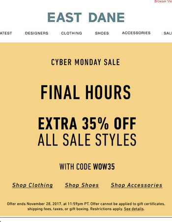 FINAL HOURS: Extra 35% off all sale with code WOW35