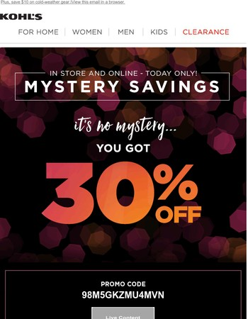 Save 40%, 30% or 20% with today's Mystery Offer!