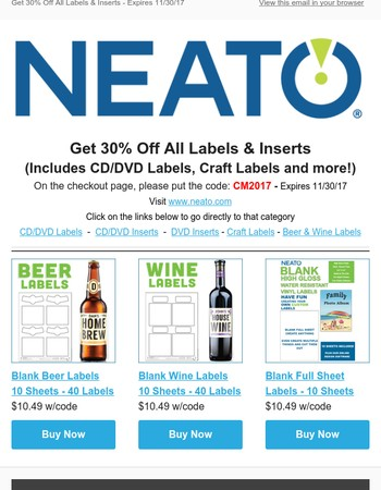 Get 30% Off All Labels & Inserts - Ends Tomorrow