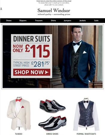Dinner suits only £115! Get ready for the party season!