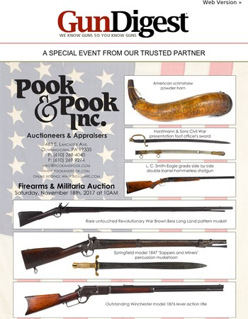 Firearms & Militaria Spanning More Than Three Centuries of Martial History at Pook & Pook's November 18th Auction
