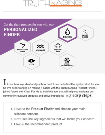 Discover the Product that's Just Right for You withTruth In Aging Product Finder