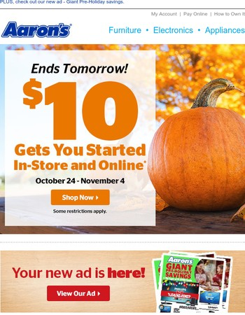 Ends Tomorrow: $10 gets you started