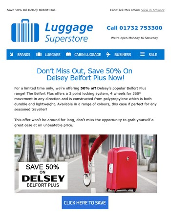 Save 50% On Delsey For Limited Time