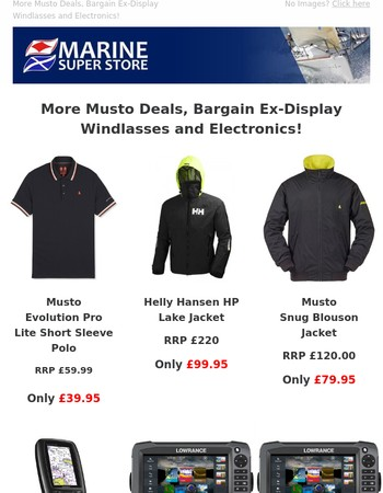 More Musto deals, bargain ex-display windlasses and electronics