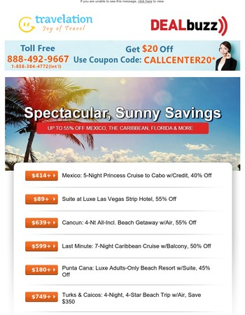 Up to 55% Off Flights to Fiji, Vegas Suite, All-Incl. Cancun & More