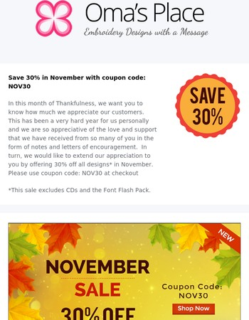 November Specials from Oma's Place